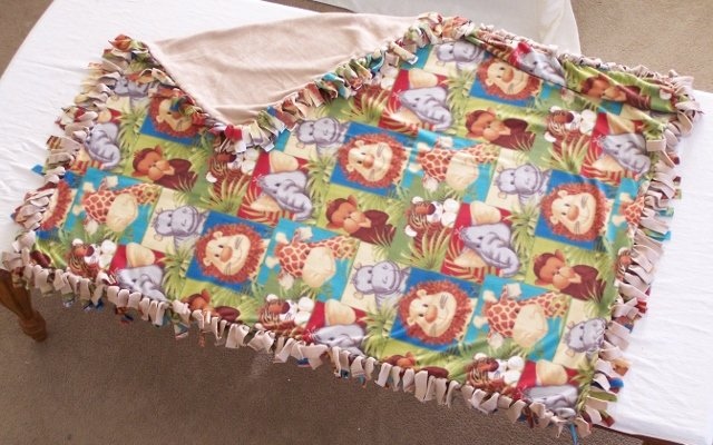 Image 0 of Animals Print Double Fleese Tie Blanket (Handmade in USA)  A1