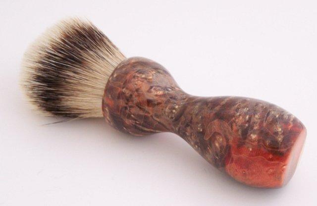 Image 0 of Orange & Black Box Elder Burl Wood 24mm Super Silvertip Badger Shaving Brush (O1