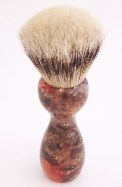 Image 2 of Orange & Black Box Elder Burl Wood 24mm Super Silvertip Badger Shaving Brush (O1