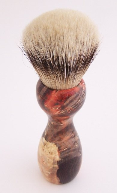 Image 3 of Orange & Black Box Elder Burl Wood 24mm Super Silvertip Badger Shaving Brush (O1