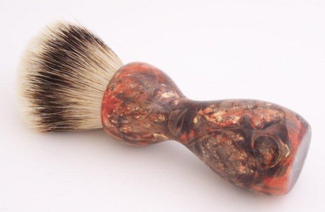 Image 0 of Orange & Black Box Elder Burl Wood 24mm Super Silvertip Badger Shaving Brush (O2
