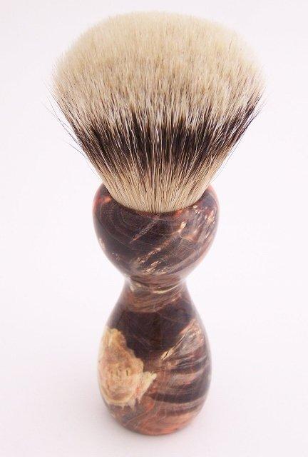 Image 3 of Orange & Black Box Elder Burl Wood 24mm Super Silvertip Badger Shaving Brush (O2