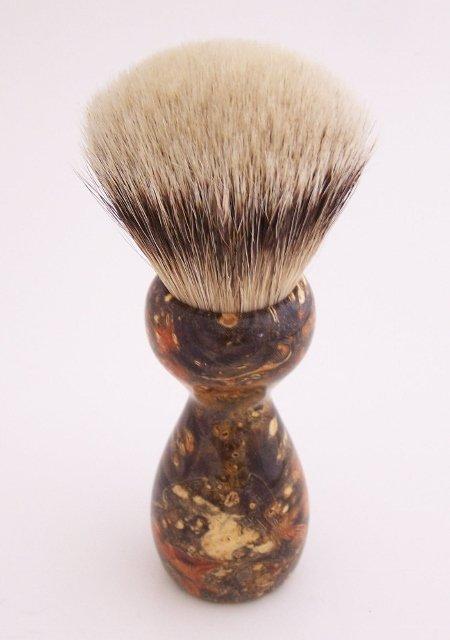Image 1 of Orange & Black Box Elder Burl Wood 24mm Super Silvertip Badger Shaving Brush (O4