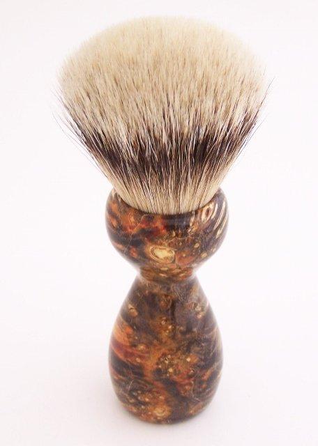 Image 3 of Orange & Black Box Elder Burl Wood 24mm Super Silvertip Badger Shaving Brush (O4