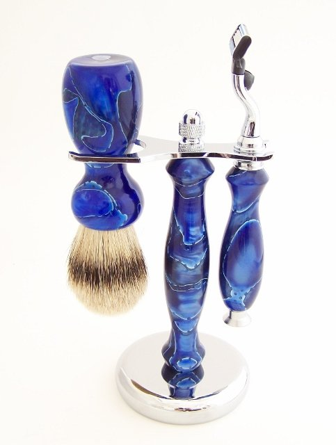 Image 0 of Blue Swirl Acrylic 22mm Super Silvertip Brush, Fusion Flexball Razor & Stand Set