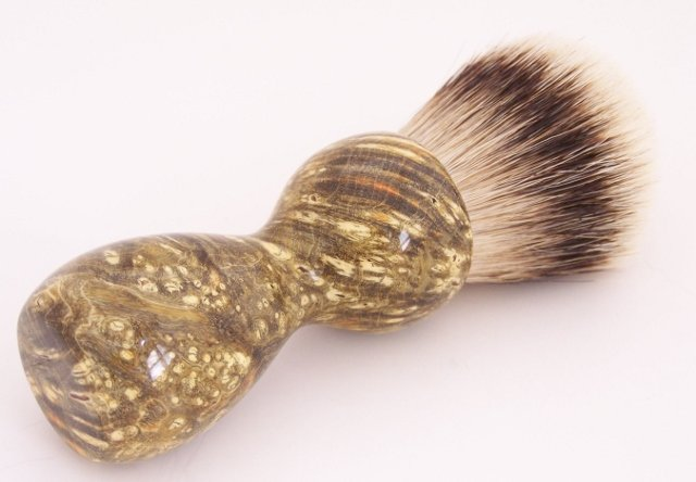 Image 0 of Amber & Black Box Elder Burl Wood 24mm Super Silvertip Badger Shaving Brush (A2)