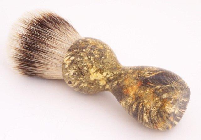 Image 1 of Amber & Black Box Elder Burl Wood 24mm Super Silvertip Badger Shaving Brush (A2)
