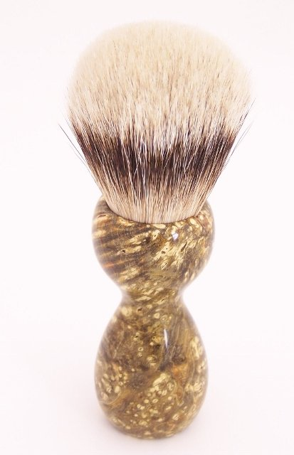Image 2 of Amber & Black Box Elder Burl Wood 24mm Super Silvertip Badger Shaving Brush (A2)
