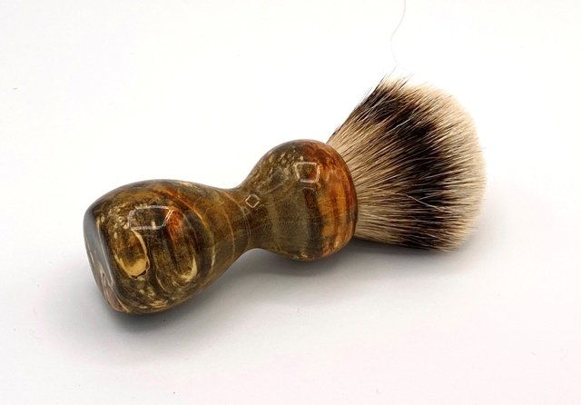 Image 1 of Amber & Black Box Elder Burl Wood 24mm Super Silvertip Badger Shaving Brush (A3)