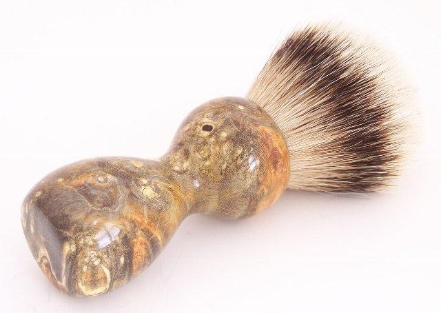 Image 1 of Amber & Black Box Elder Burl Wood 24mm Super Silvertip Badger Shaving Brush (A3)