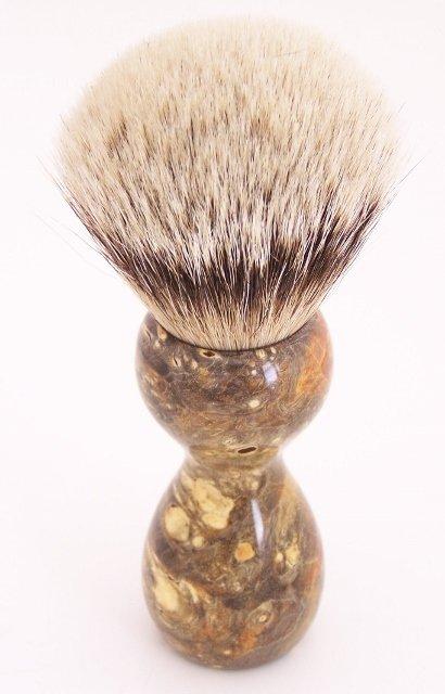 Image 2 of Amber & Black Box Elder Burl Wood 24mm Super Silvertip Badger Shaving Brush (A3)