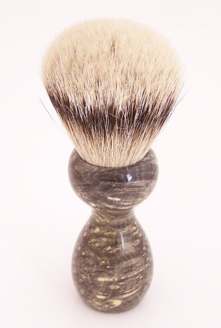 Image 2 of Black Box Elder Burl Wood 24mm Super Silvertip Badger Shaving Brush (B1)