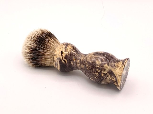 Image 1 of Box Elder Wood 22mm Super Silvertip Badger Shaving Brush (Handmade in USA) BEB2