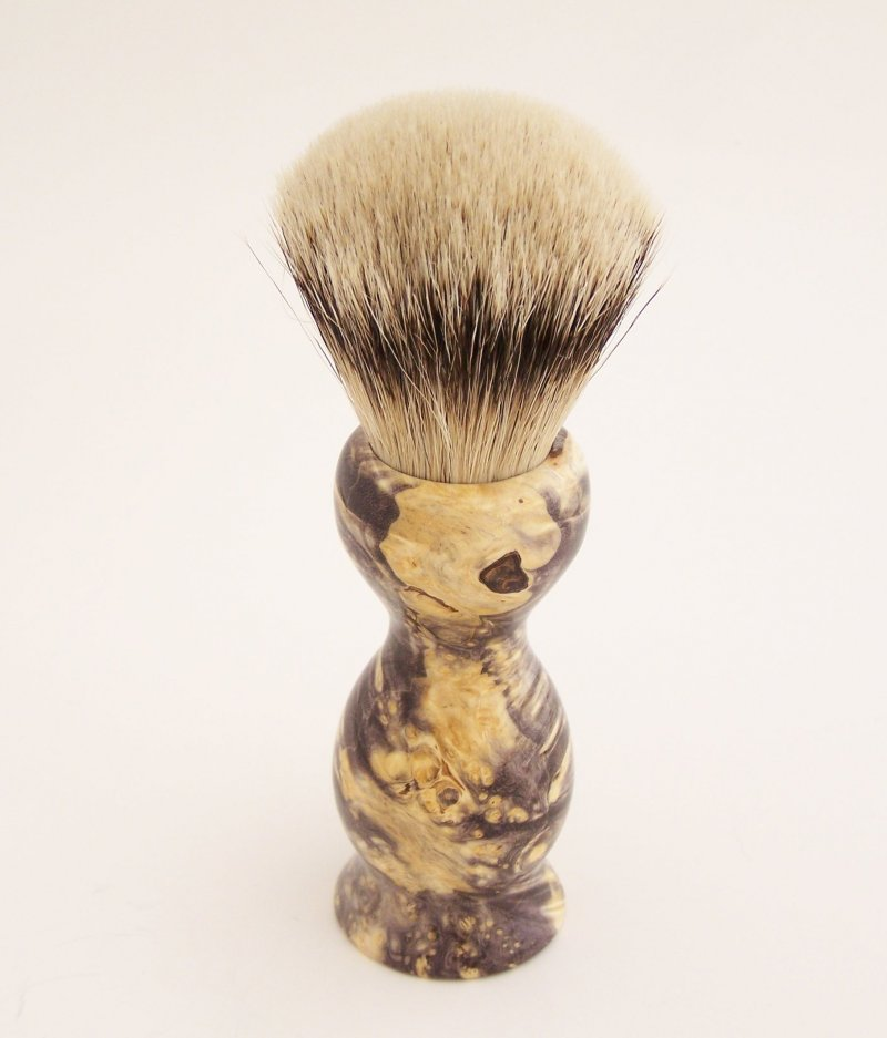 Image 2 of Box Elder Wood 22mm Super Silvertip Badger Shaving Brush (Handmade in USA) BEB2