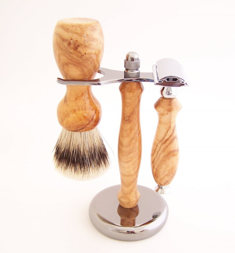 Image 0 of Shaving Set: Cherry Burl 22mm Silvertip Badger Brush, DE Safety Razor & Stand C2