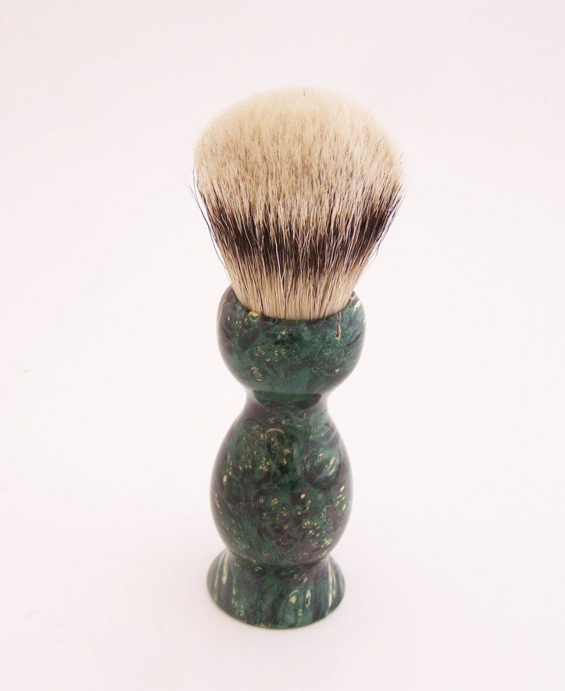 Image 2 of Green Box Elder Burl Wood 22mm Super Silvertip Badger Shaving Brush (Handmade)G2