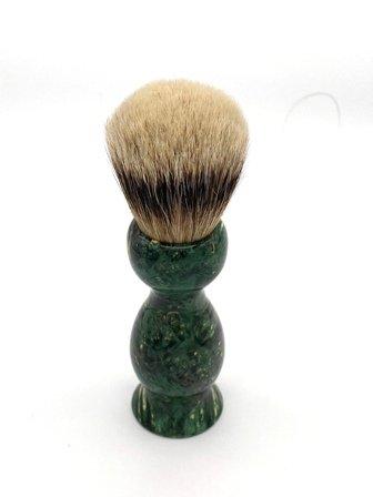 Image 2 of Green Box Elder Burl Wood 22mm Super Silvertip Badger Shaving Brush (Handmade)G2
