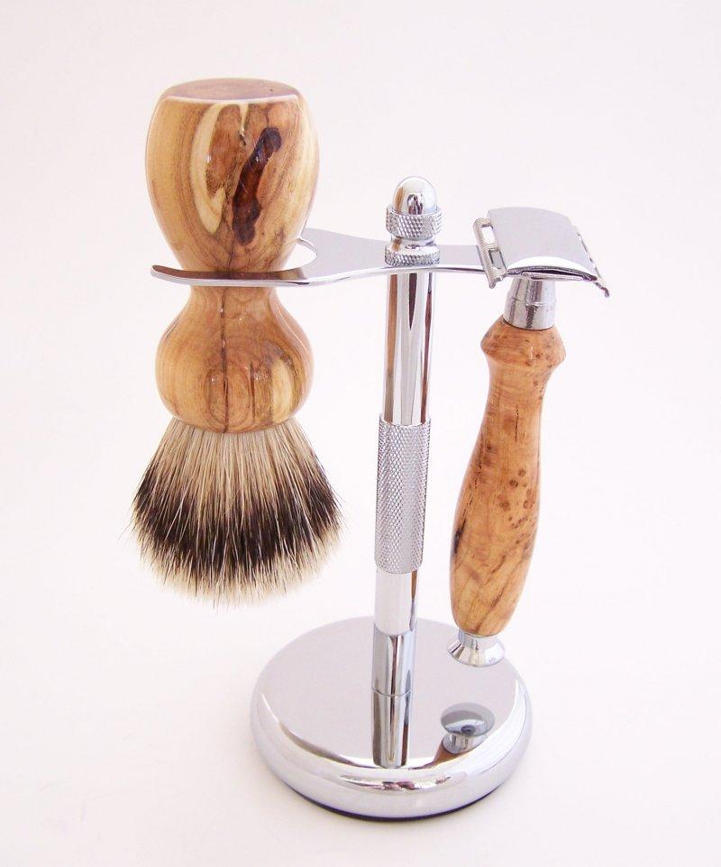 Image 0 of Cherry Burl Wood 20mm Silvertip Brush, DE Safety Razor and Stand (Handmade) C1
