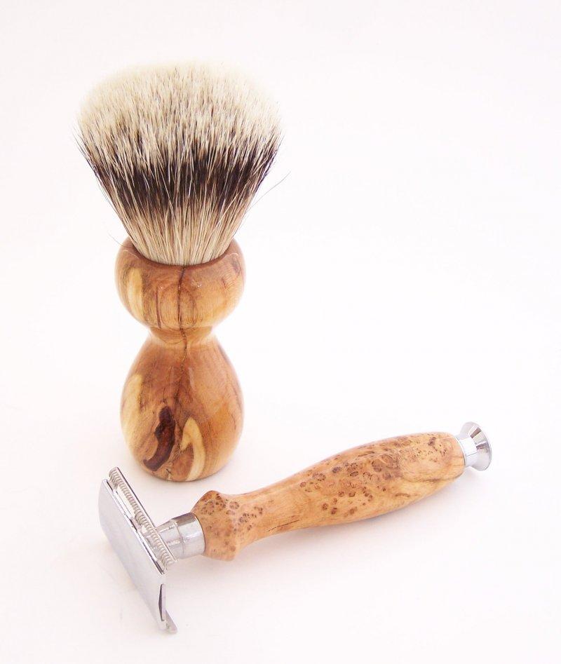 Image 1 of Cherry Burl Wood 20mm Silvertip Brush, DE Safety Razor and Stand (Handmade) C1