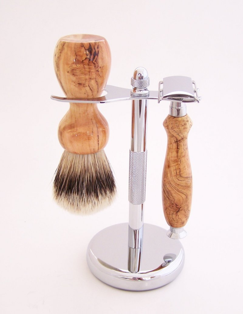 Image 0 of Cherry Burl Wood 20mm Silvertip Brush, DE Safety Razor and Stand (Handmade) C2