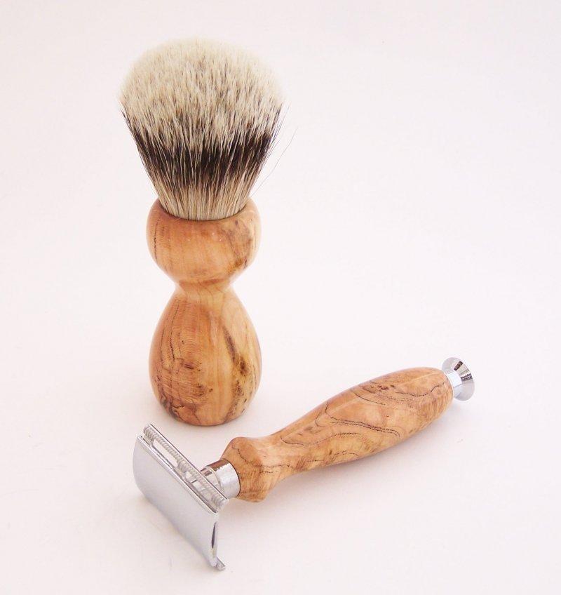Image 1 of Cherry Burl Wood 20mm Silvertip Brush, DE Safety Razor and Stand (Handmade) C2