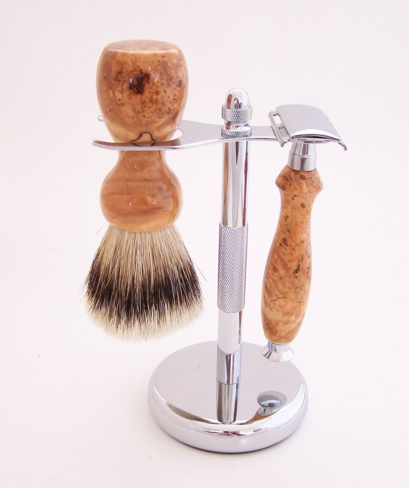 Image 0 of Cherry Burl Wood 20mm Silvertip Brush, DE Safety Razor and Stand (Handmade) C3