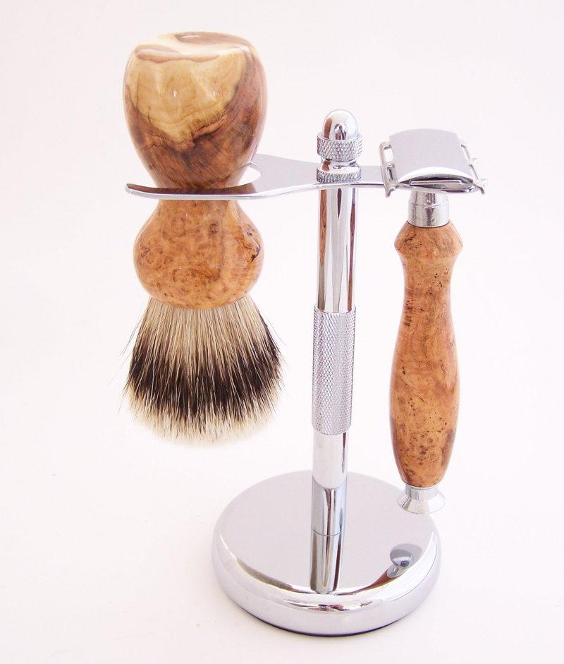 Image 0 of Cherry Burl Wood 20mm Silvertip Brush, DE Safety Razor and Stand (Handmade) C4