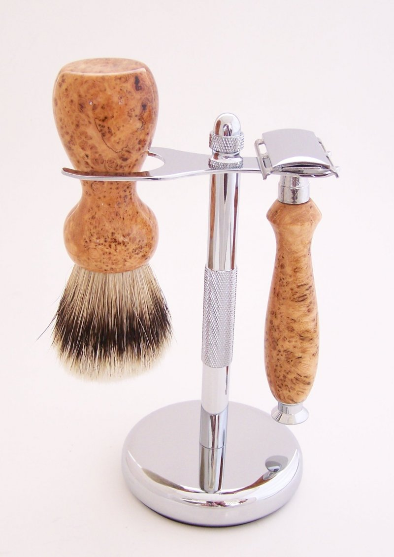 Image 0 of Cherry Burl Wood 20mm Silvertip Brush, DE Safety Razor and Stand (Handmade) C5