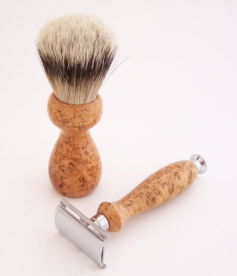 Image 1 of Cherry Burl Wood 20mm Silvertip Brush, DE Safety Razor and Stand (Handmade) C5