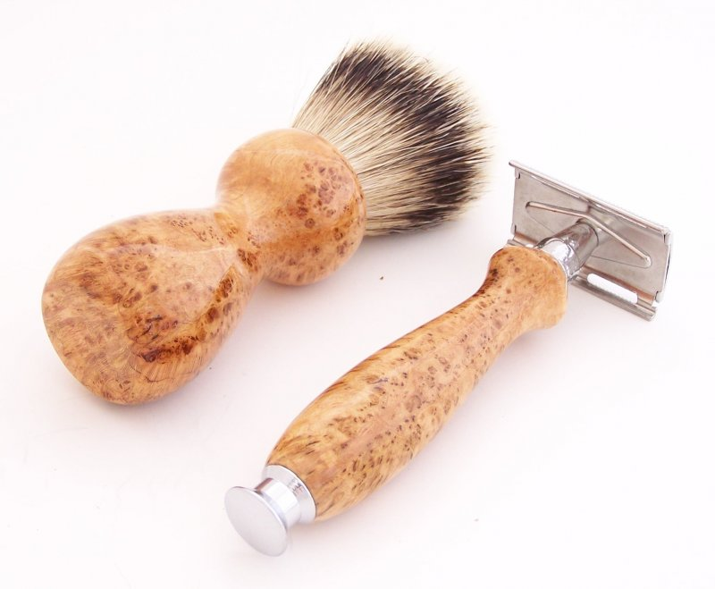 Image 2 of Cherry Burl Wood 20mm Silvertip Brush, DE Safety Razor and Stand (Handmade) C5