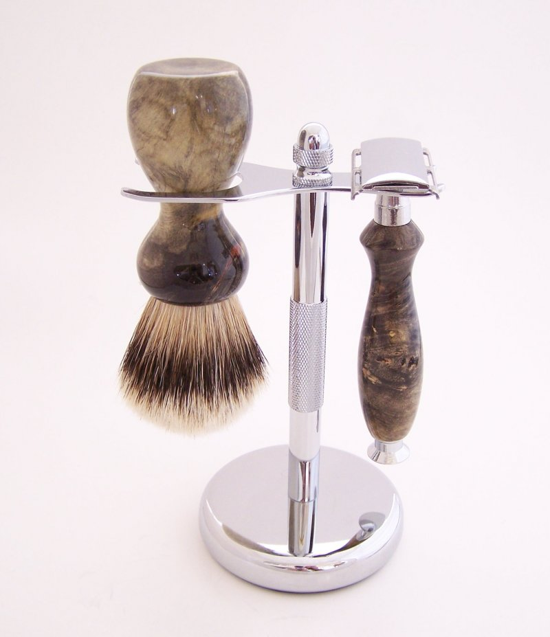 Image 0 of Buckeye Burl Wood 20mm Silvertip Brush, DE Safety Razor and Stand (Handmade) B1