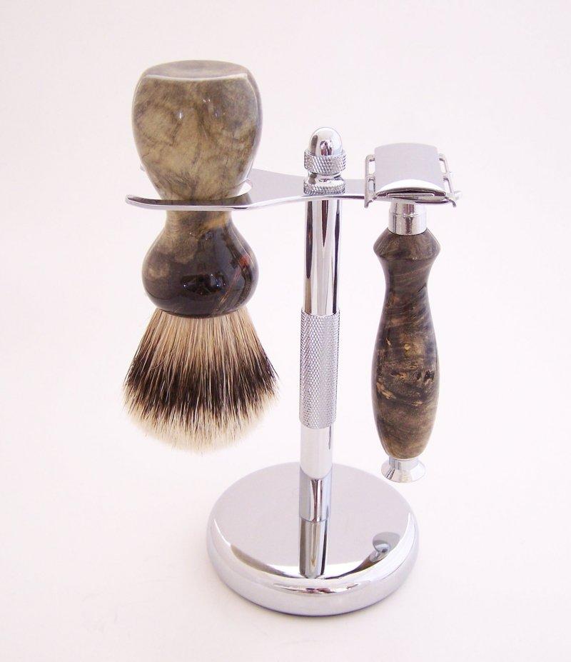 Image 0 of Buckeye Burl Wood 20mm Silvertip Brush, DE Safety Razor and Stand (Handmade) B1