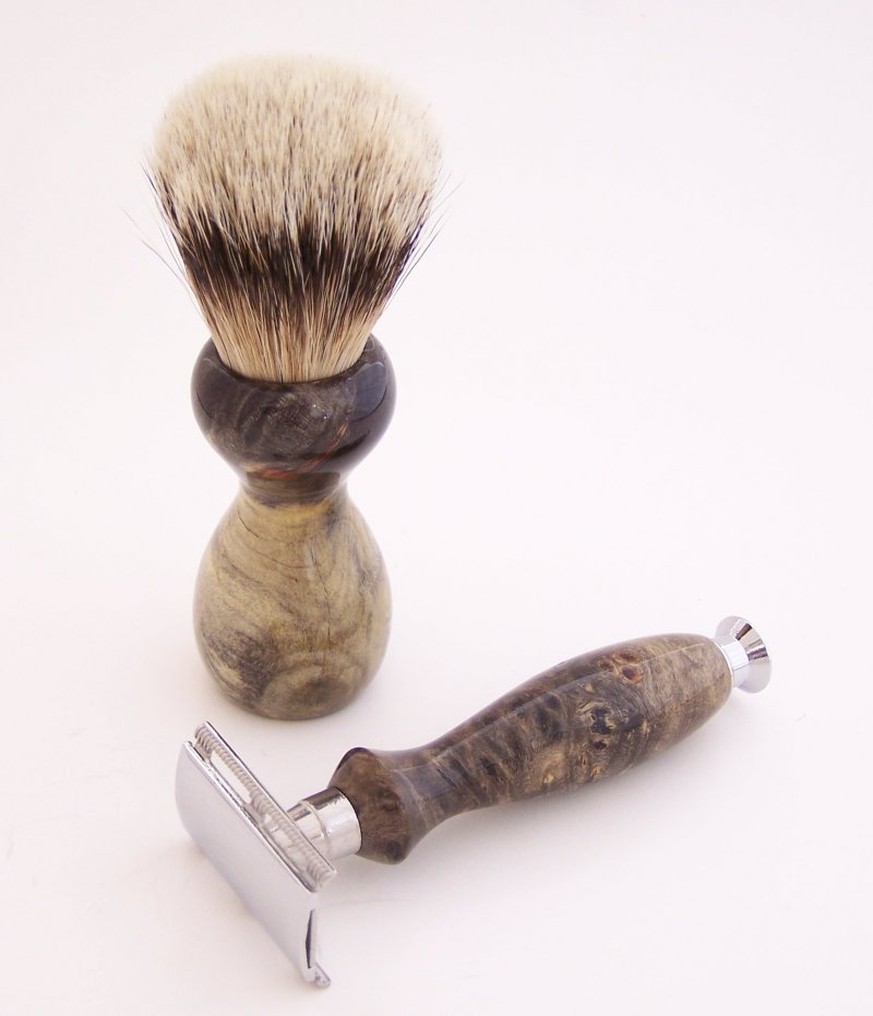 Image 1 of Buckeye Burl Wood 20mm Silvertip Brush, DE Safety Razor and Stand (Handmade) B1