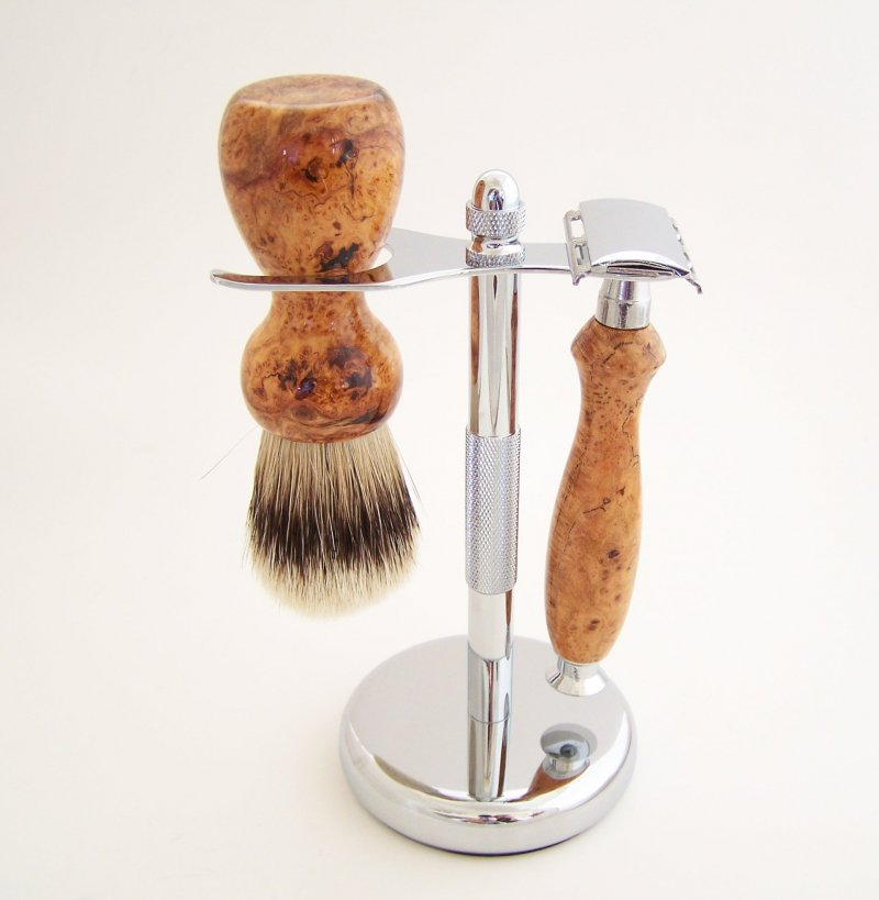 Image 0 of Cherry Burl Wood 20mm Silvertip Brush, DE Safety Razor and Stand (Handmade) C6