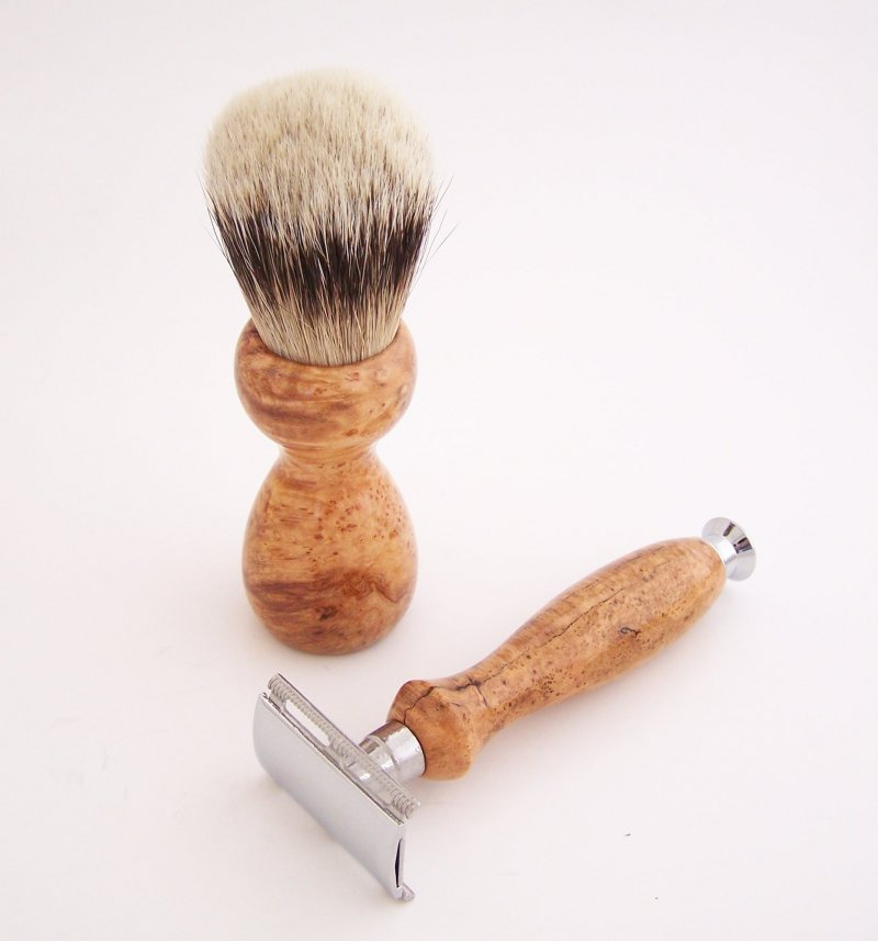 Image 1 of Cherry Burl Wood 20mm Silvertip Brush, DE Safety Razor and Stand (Handmade) C6