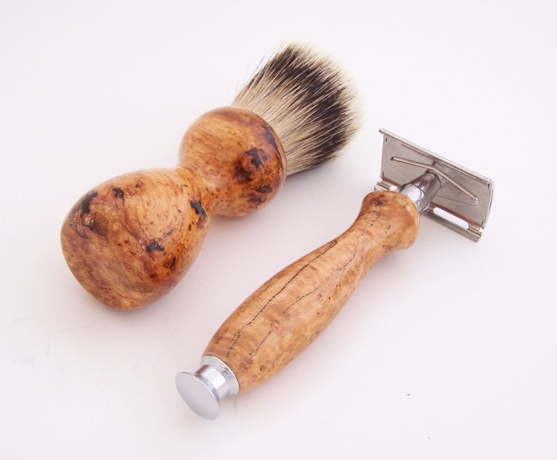 Image 2 of Cherry Burl Wood 20mm Silvertip Brush, DE Safety Razor and Stand (Handmade) C6