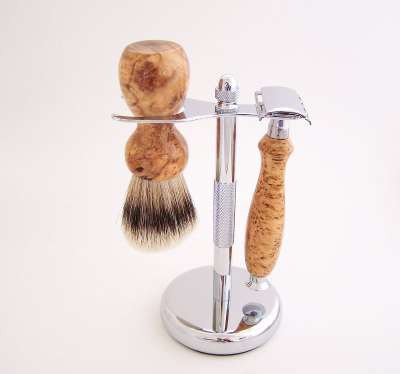 Image 0 of Cherry Burl Wood 20mm Silvertip Brush, DE Safety Razor and Stand (Handmade) C7