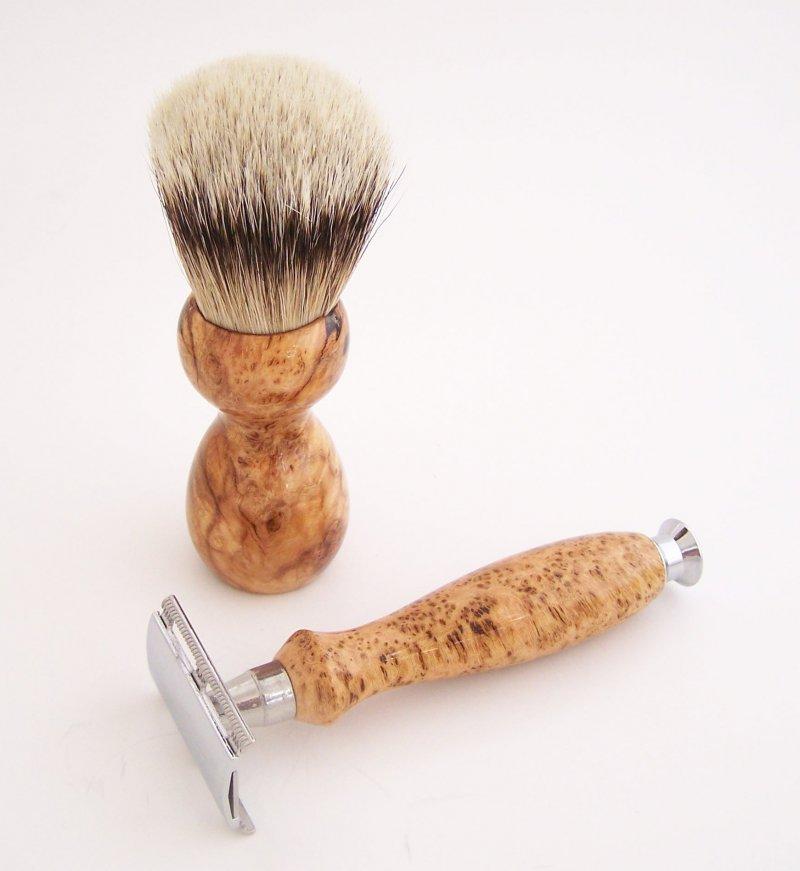Image 1 of Cherry Burl Wood 20mm Silvertip Brush, DE Safety Razor and Stand (Handmade) C7