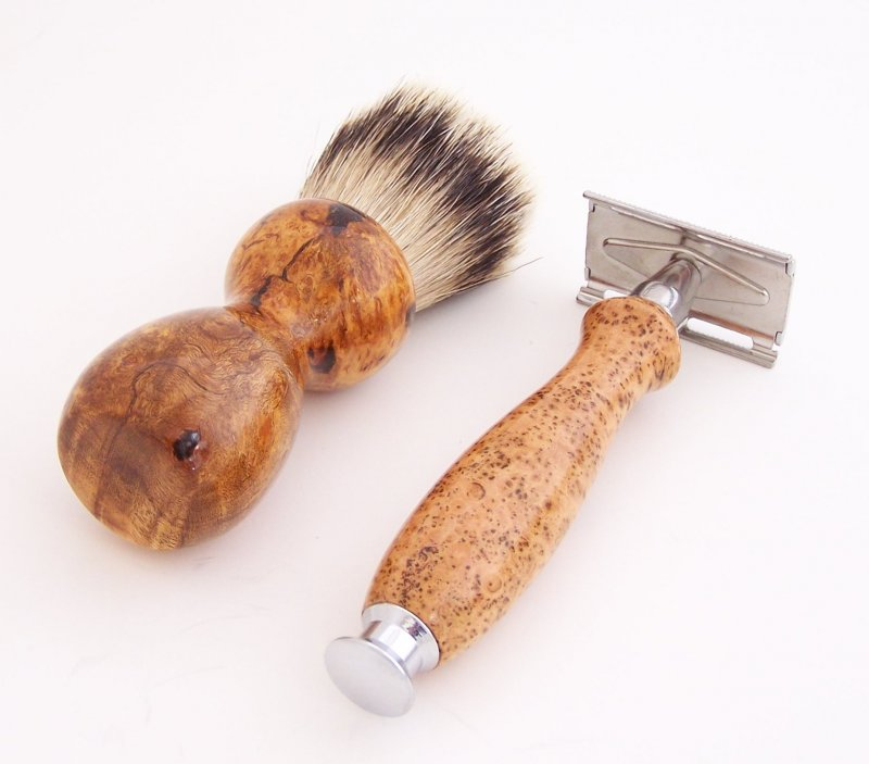 Image 2 of Cherry Burl Wood 20mm Silvertip Brush, DE Safety Razor and Stand (Handmade) C7
