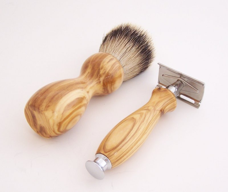 Image 1 of Olivewood 20mm Silvertip Brush, DE Safety Razor and Stand (Handmade) O1