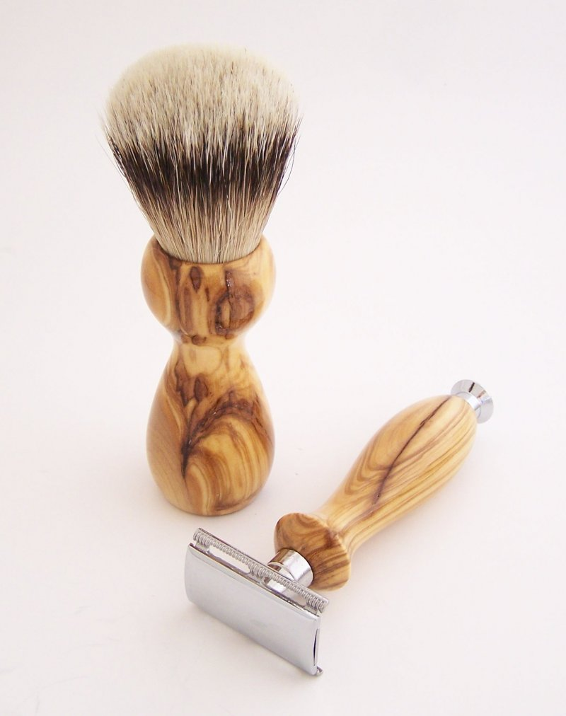 Image 1 of Olivewood 20mm Silvertip Brush, DE Safety Razor and Stand (Handmade) O2
