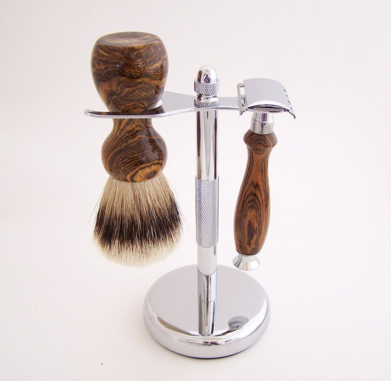 Image 0 of Bocote Wood 20mm Silvertip Brush, DE Safety Razor and Stand (Handmade) B1