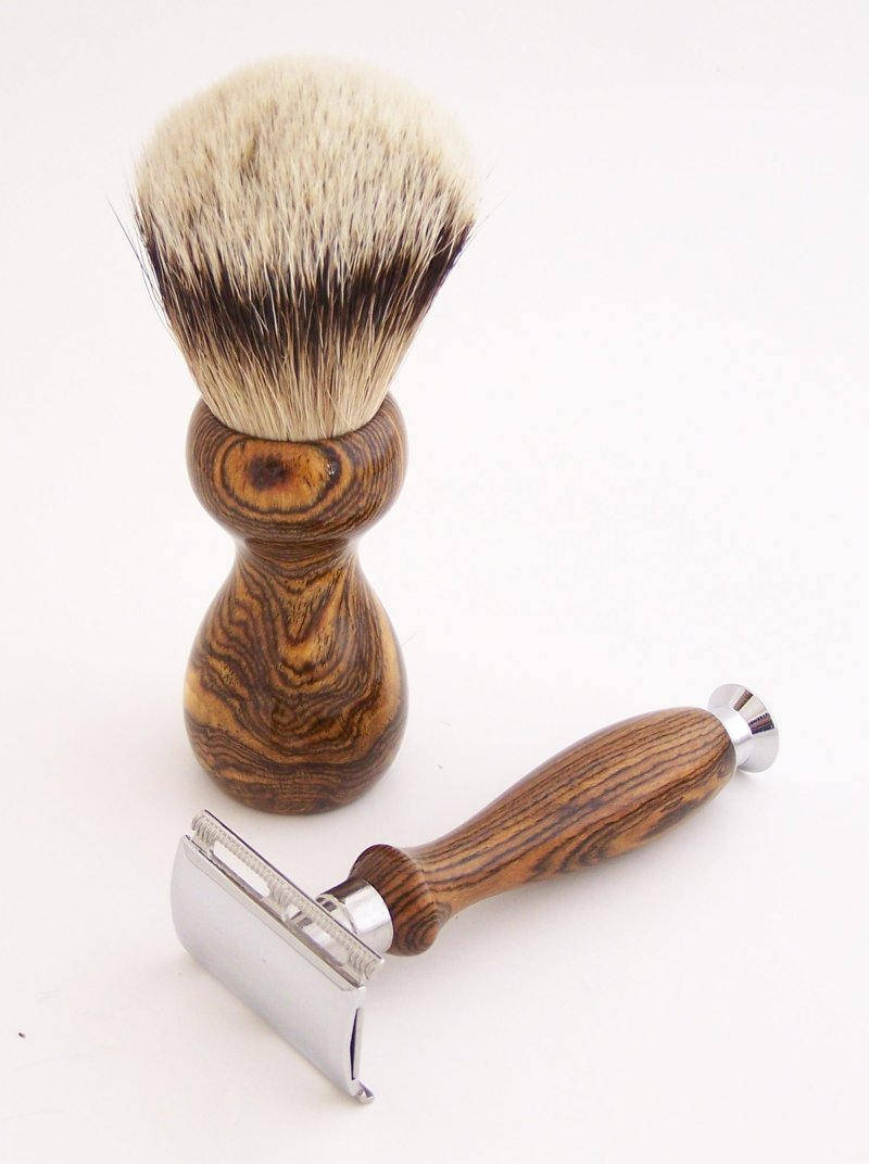 Image 1 of Bocote Wood 20mm Silvertip Brush, DE Safety Razor and Stand (Handmade) B1