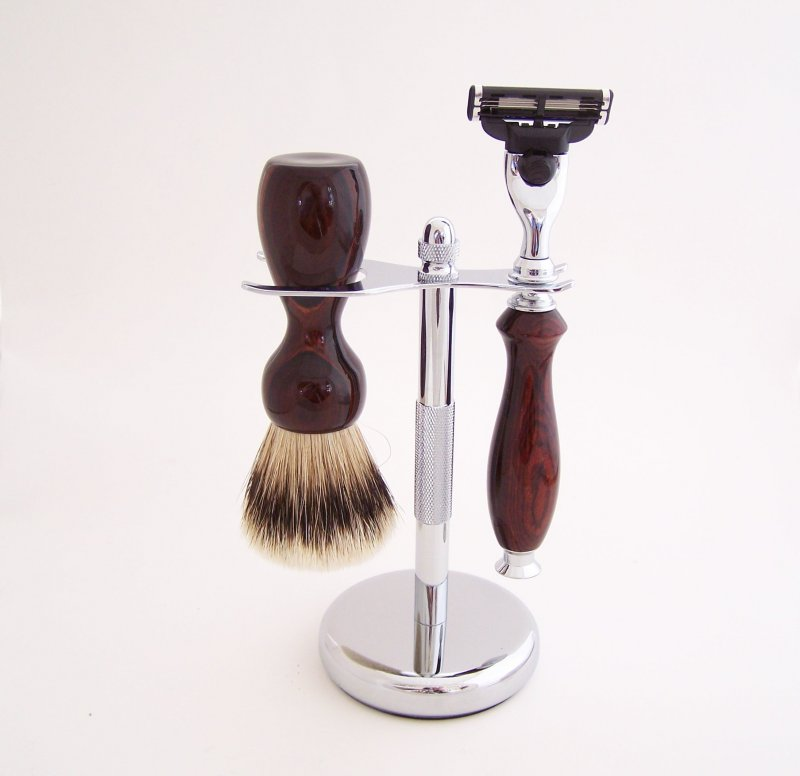 Image 0 of Cocobolo Shaving Set: 20mm Super Silvertip Brush and Mach 3 Razor (Handmade) C2