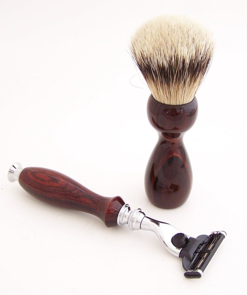 Image 1 of Cocobolo Shaving Set: 20mm Super Silvertip Brush and Mach 3 Razor (Handmade) C2