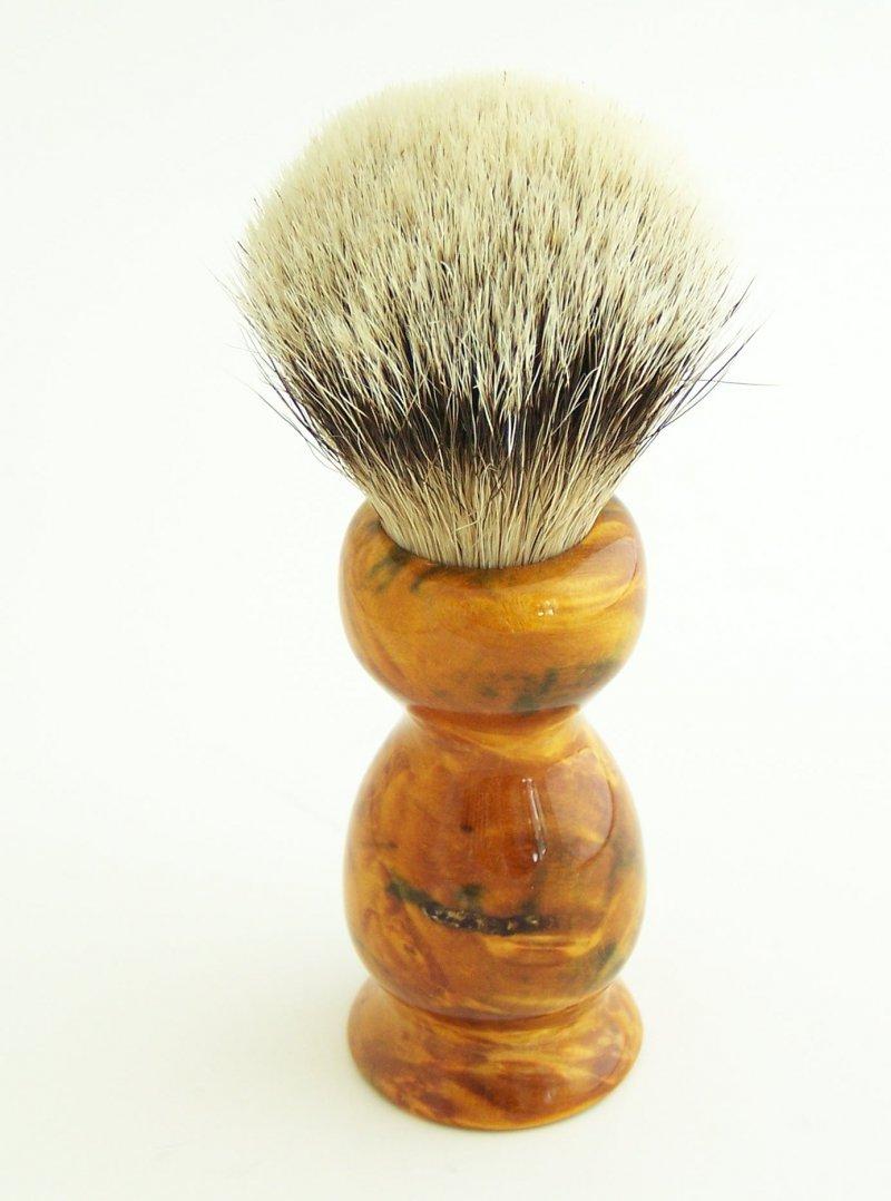 Image 1 of Gold/Amber 20mm Silvertip Badger Shaving Brush (Handmade) BEB10