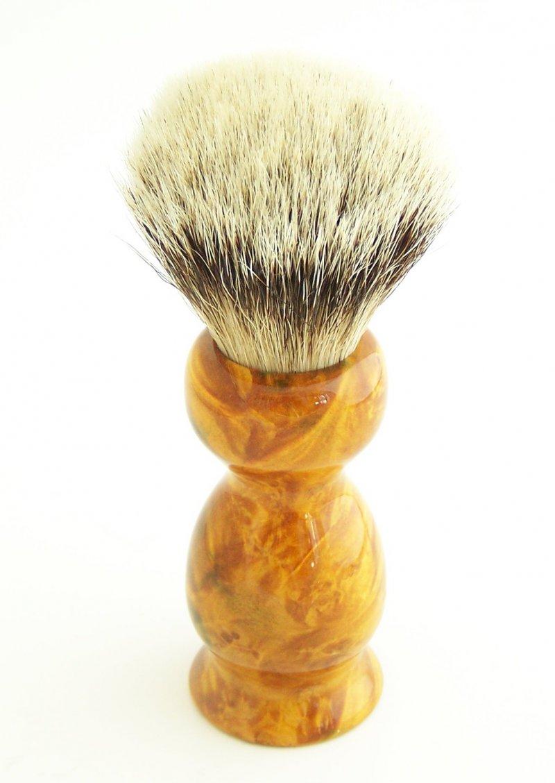 Image 2 of Gold/Amber 20mm Silvertip Badger Shaving Brush (Handmade) BEB10