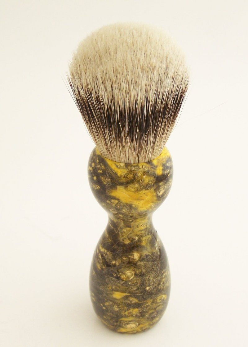 Image 2 of Yellow Box Elder Burl Wood 22mm Super Silvertip Badger Shaving Brush (BEB31)