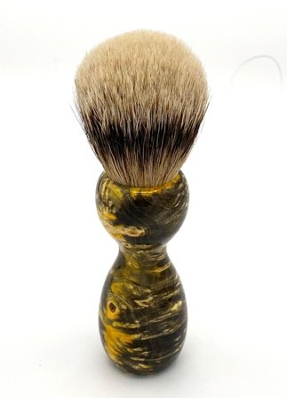 Image 3 of Yellow Box Elder Burl Wood 22mm Super Silvertip Badger Shaving Brush (BEB31)