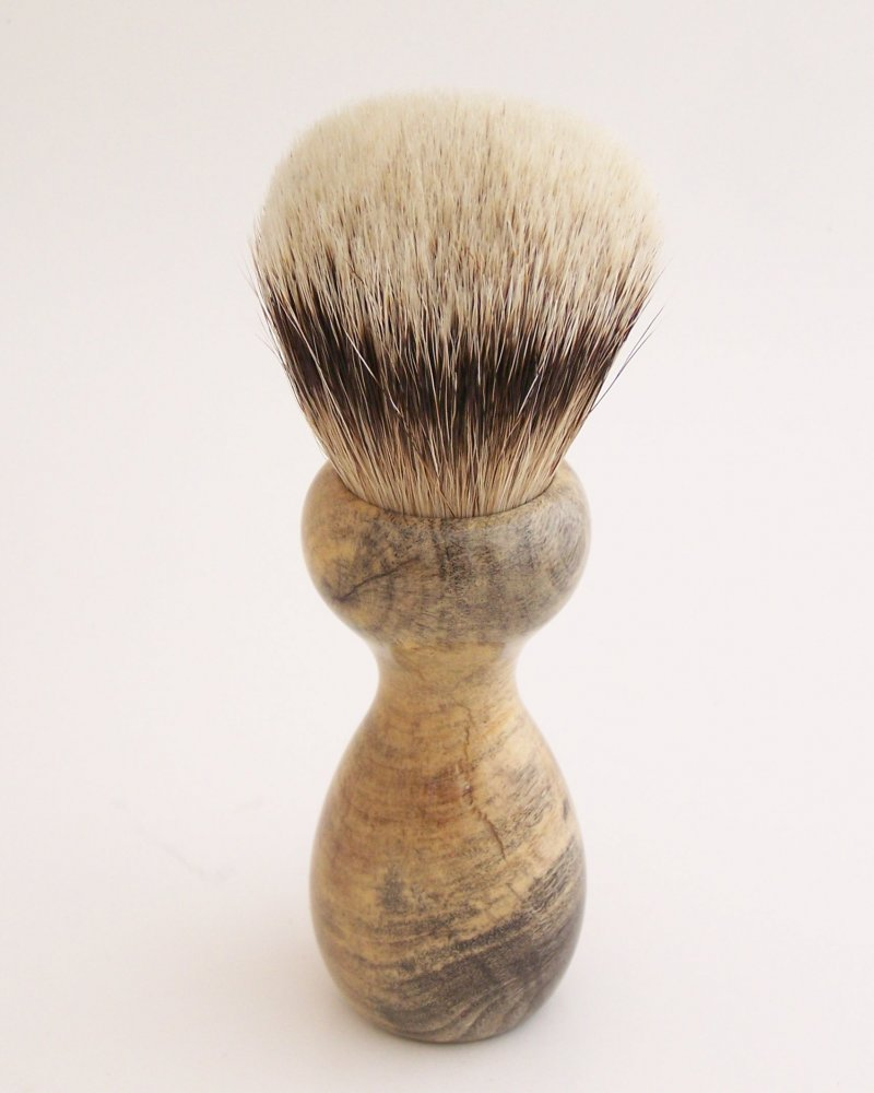 Image 2 of Buckeye Burl Wood 22mm Super Silvertip Badger Shaving Brush (Handmade) B1